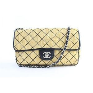 226fd7b76259a3 Chanel. Quilted Straw Classic Flap 14CR0702